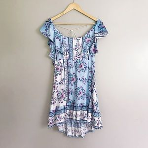 Jaase • Floral Boho Ruffle Mini Dress w Tassels